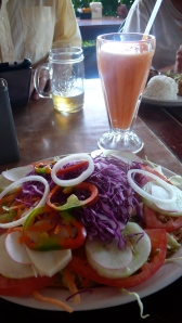 First Meal - Papaya Juice and Hearts of Palm Salad!